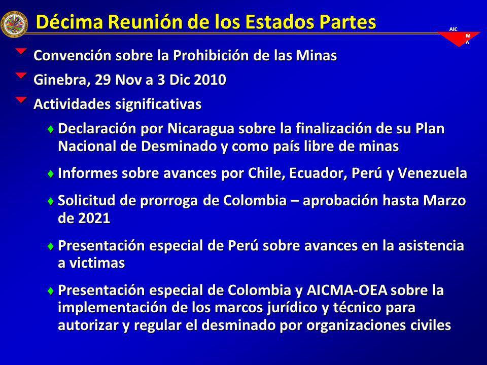 AIC M A Décima Reunión de los Estados Partes Convención sobre la Prohibición de las Minas Convención sobre la Prohibición de las Minas Ginebra, 29 Nov