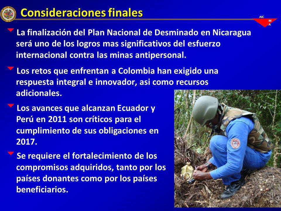 AIC M A Consideraciones finales La finalización del Plan Nacional de Desminado en Nicaragua será uno de los logros mas significativos del esfuerzo int