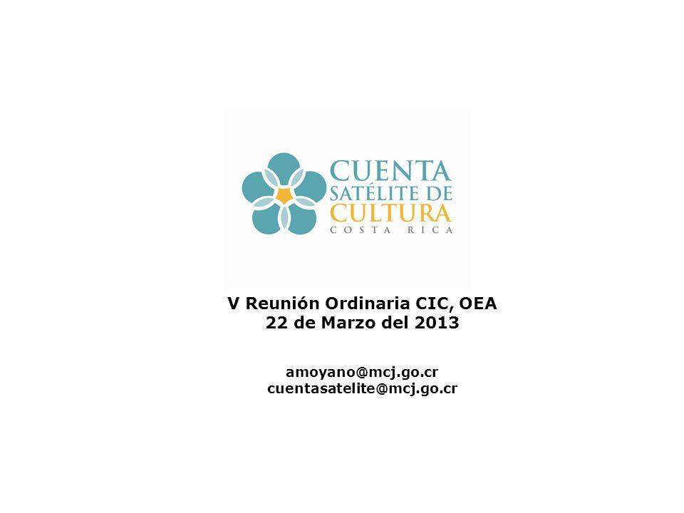 V Reunión Ordinaria CIC, OEA 22 de Marzo del 2013 amoyano@mcj.go.cr cuentasatelite@mcj.go.cr