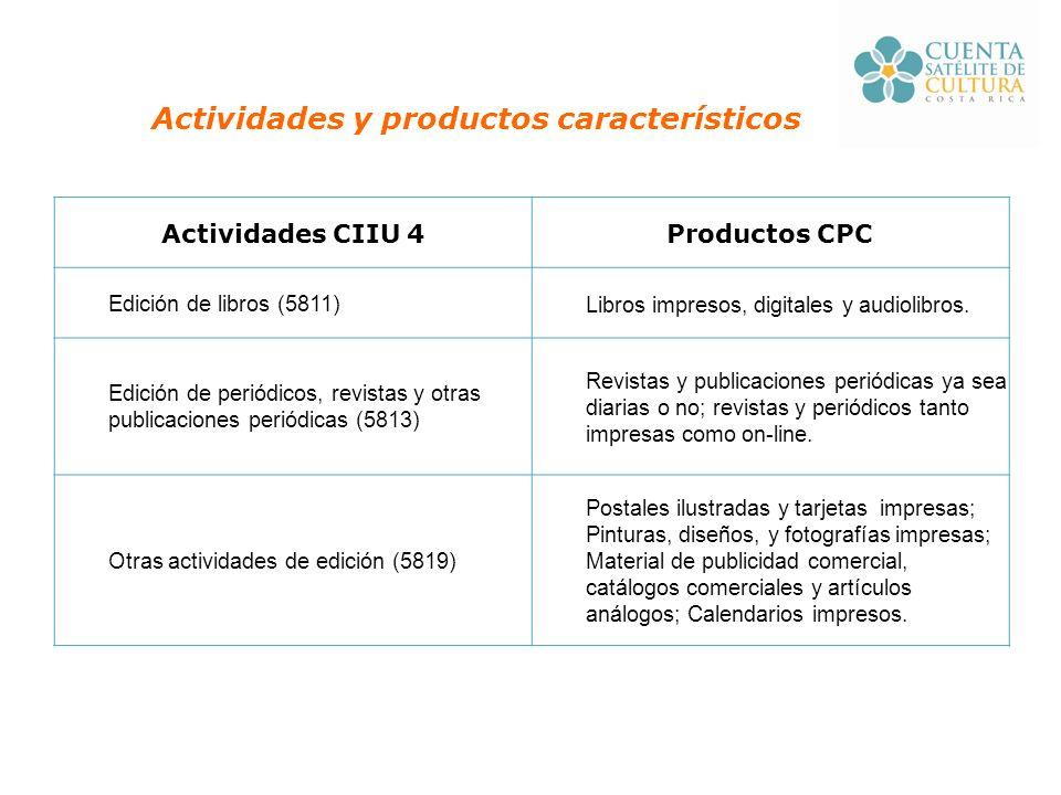 Actividades y productos característicos Actividades CIIU 4Productos CPC Edición de libros (5811)Libros impresos, digitales y audiolibros.