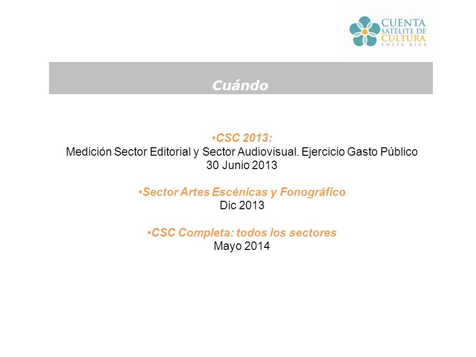 CSC 2013: Medición Sector Editorial y Sector Audiovisual.