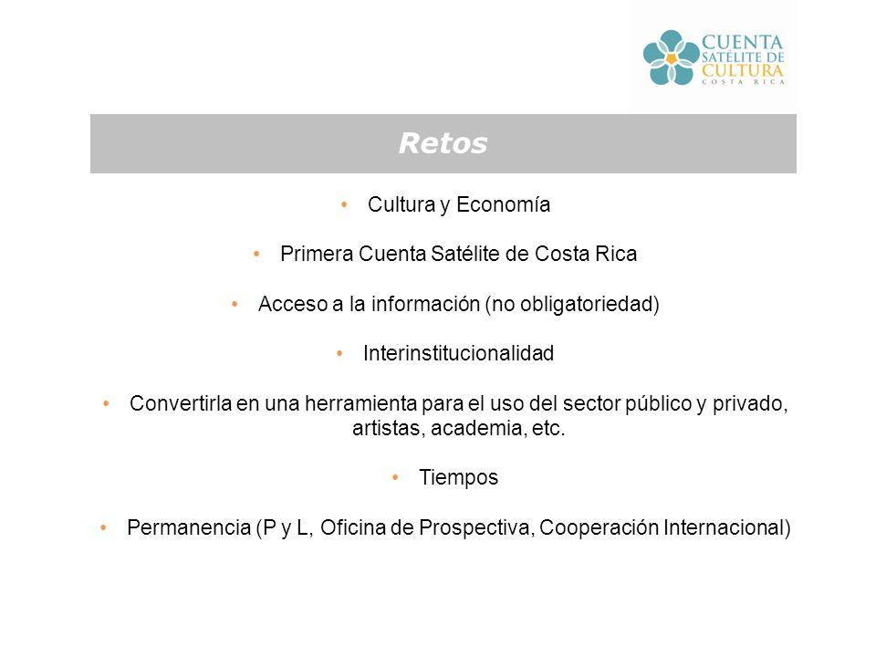Cultura y Economía Primera Cuenta Satélite de Costa Rica Acceso a la información (no obligatoriedad) Interinstitucionalidad Convertirla en una herramienta para el uso del sector público y privado, artistas, academia, etc.