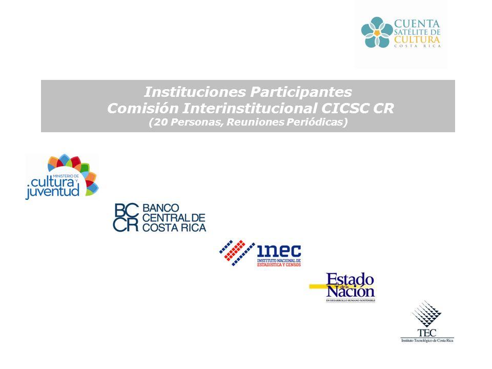 Instituciones Participantes Comisión Interinstitucional CICSC CR (20 Personas, Reuniones Periódicas)