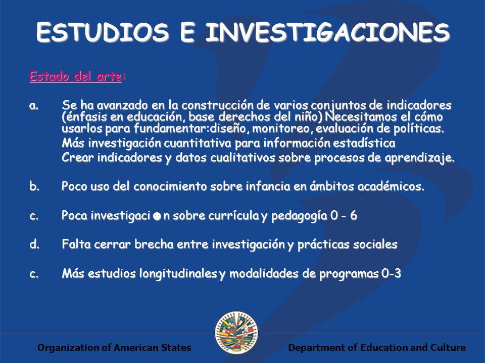 Department of Education and CultureOrganization of American States ESTUDIOS E INVESTIGACIONES Estado del arte: a.Se ha avanzado en la construcción de