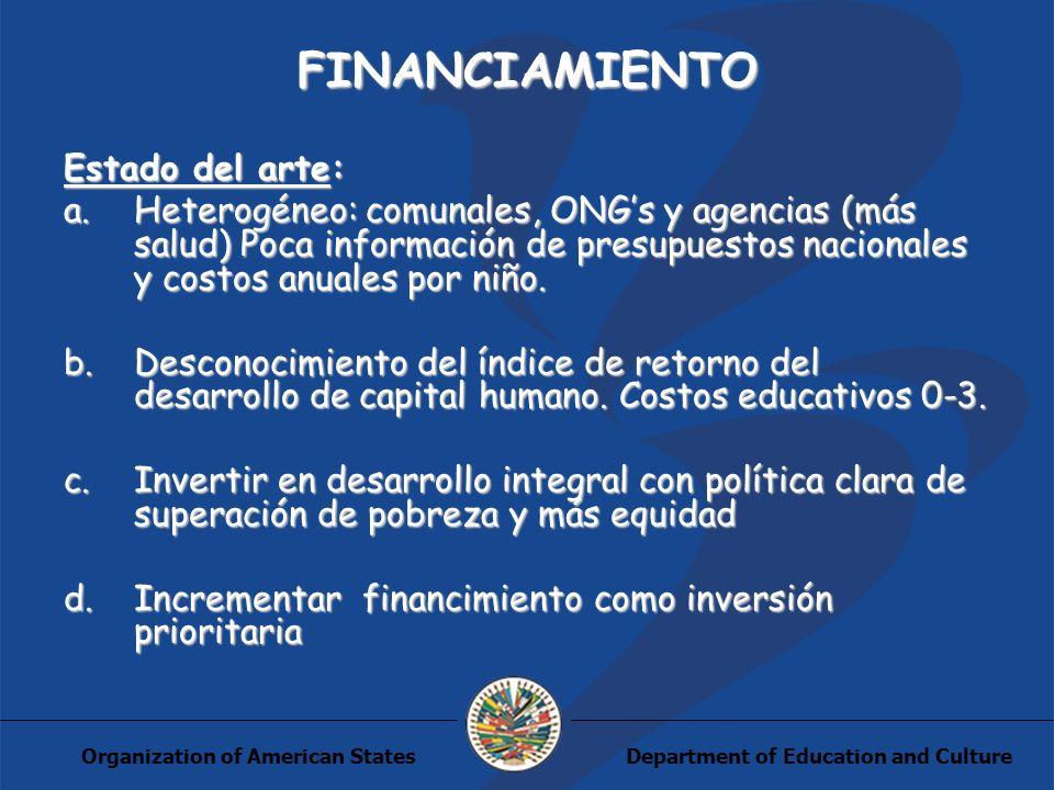 Department of Education and CultureOrganization of American States FINANCIAMIENTO Estado del arte: a.Heterogéneo: comunales, ONGs y agencias (más salu