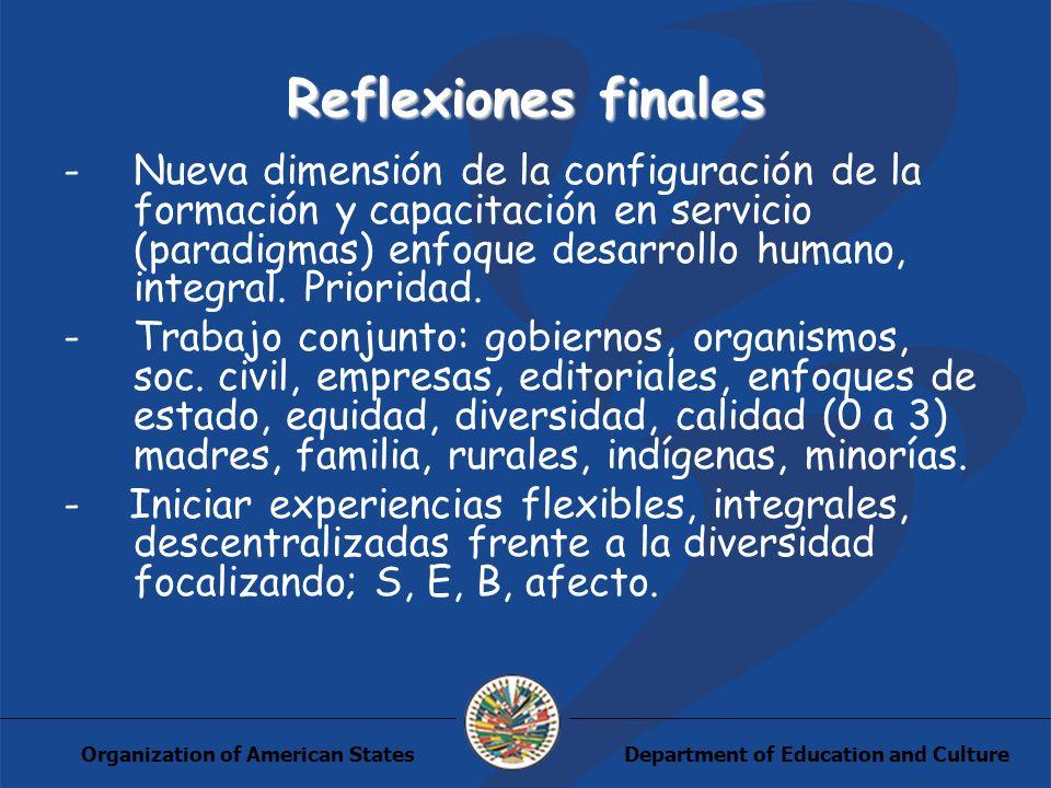 Department of Education and CultureOrganization of American States Reflexiones finales -Nueva dimensión de la configuración de la formación y capacitación en servicio (paradigmas) enfoque desarrollo humano, integral.