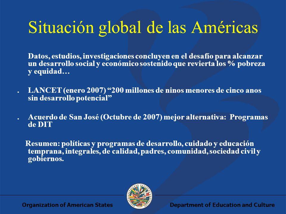 Department of Education and CultureOrganization of American States Situación global de las Américas Datos, estudios, investigaciones concluyen en el d