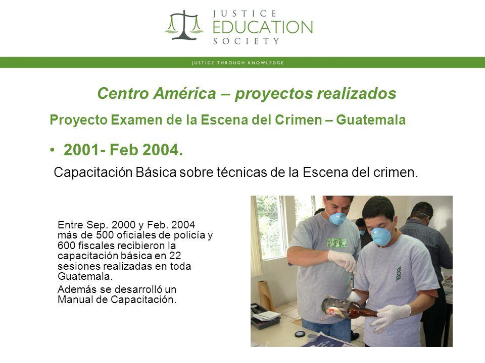2001- Feb 2004. Proyecto Examen de la Escena del Crimen – Guatemala Entre Sep.