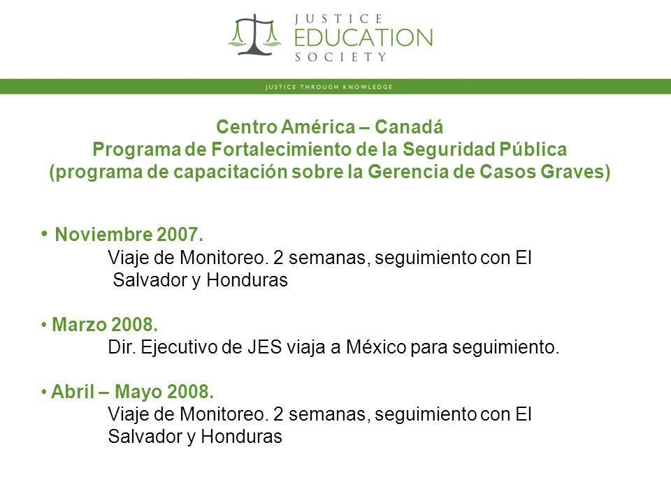 Noviembre 2007. Viaje de Monitoreo. 2 semanas, seguimiento con El Salvador y Honduras Marzo 2008.