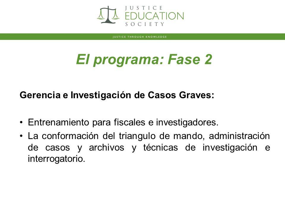 El programa: Fase 2 Gerencia e Investigación de Casos Graves: Entrenamiento para fiscales e investigadores.