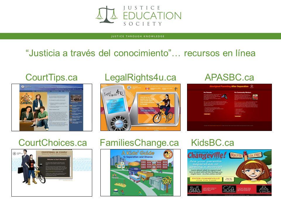 Justicia a través del conocimiento… recursos en línea CourtTips.caAPASBC.ca CourtChoices.caFamiliesChange.ca LegalRights4u.ca KidsBC.ca
