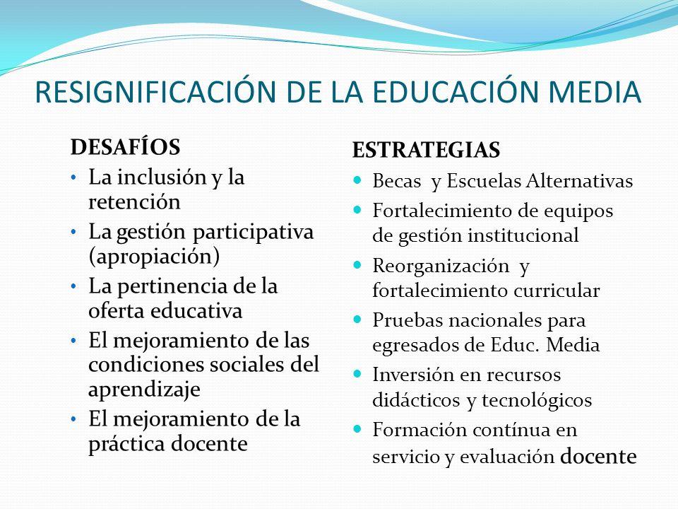 RESIGNIFICACIÓN DE LA EDUCACIÓN MEDIA DESAFÍOS La inclusión y la retención La gestión participativa (apropiación) La pertinencia de la oferta educativ