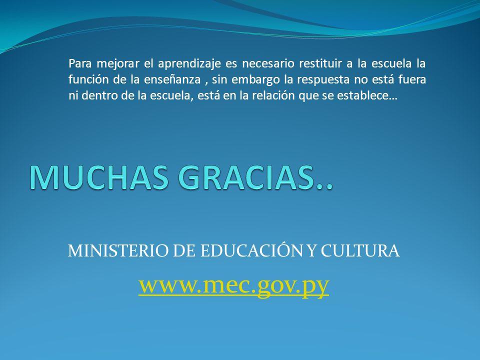 MINISTERIO DE EDUCACIÓN Y CULTURA www.mec.gov.py Para mejorar el aprendizaje es necesario restituir a la escuela la función de la ense ñ anza, sin embargo la respuesta no está fuera ni dentro de la escuela, está en la relación que se establece…