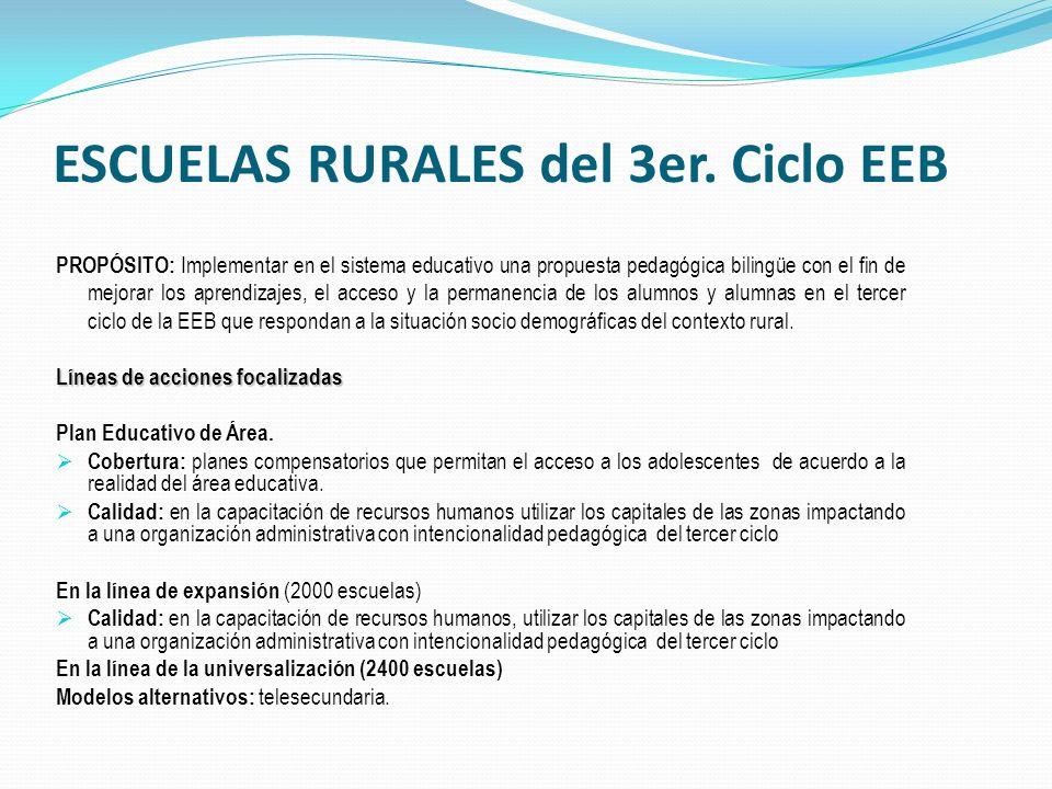 PROPÓSITO: Implementar en el sistema educativo una propuesta pedagógica bilingüe con el fin de mejorar los aprendizajes, el acceso y la permanencia de los alumnos y alumnas en el tercer ciclo de la EEB que respondan a la situación socio demográficas del contexto rural.