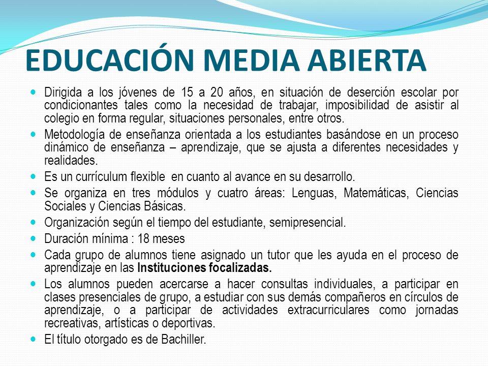 EDUCACIÓN MEDIA ABIERTA Dirigida a los jóvenes de 15 a 20 años, en situación de deserción escolar por condicionantes tales como la necesidad de trabajar, imposibilidad de asistir al colegio en forma regular, situaciones personales, entre otros.