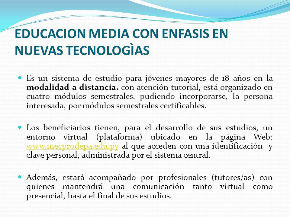 EDUCACION MEDIA CON ENFASIS EN NUEVAS TECNOLOGÌAS Es un sistema de estudio para jóvenes mayores de 18 años en la modalidad a distancia, con atención t