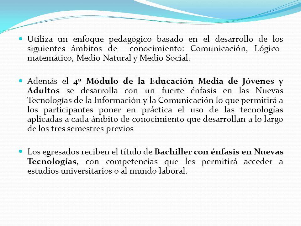 Utiliza un enfoque pedagógico basado en el desarrollo de los siguientes ámbitos de conocimiento: Comunicación, Lógico- matemático, Medio Natural y Med