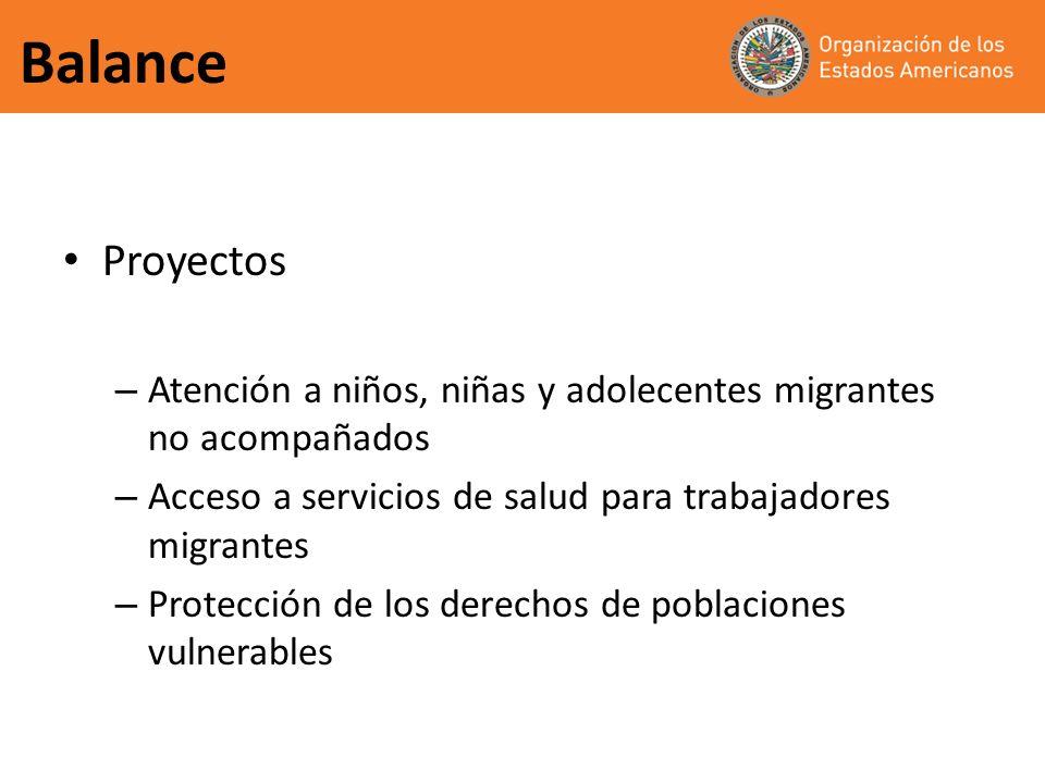 Balance Proyectos – Atención a niños, niñas y adolecentes migrantes no acompañados – Acceso a servicios de salud para trabajadores migrantes – Protecc