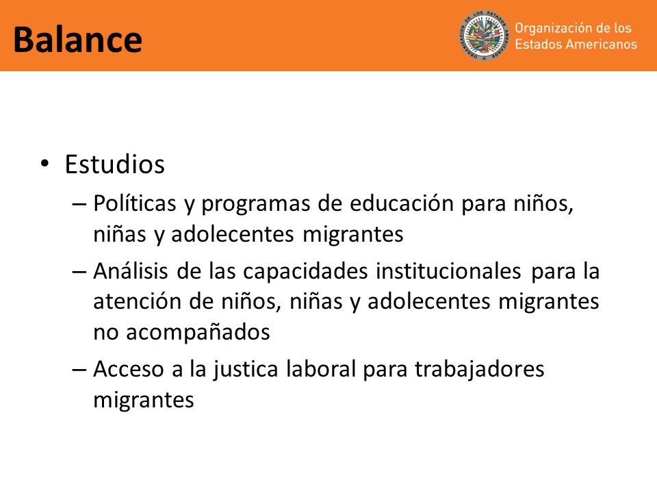 Balance Estudios – Políticas y programas de educación para niños, niñas y adolecentes migrantes – Análisis de las capacidades institucionales para la