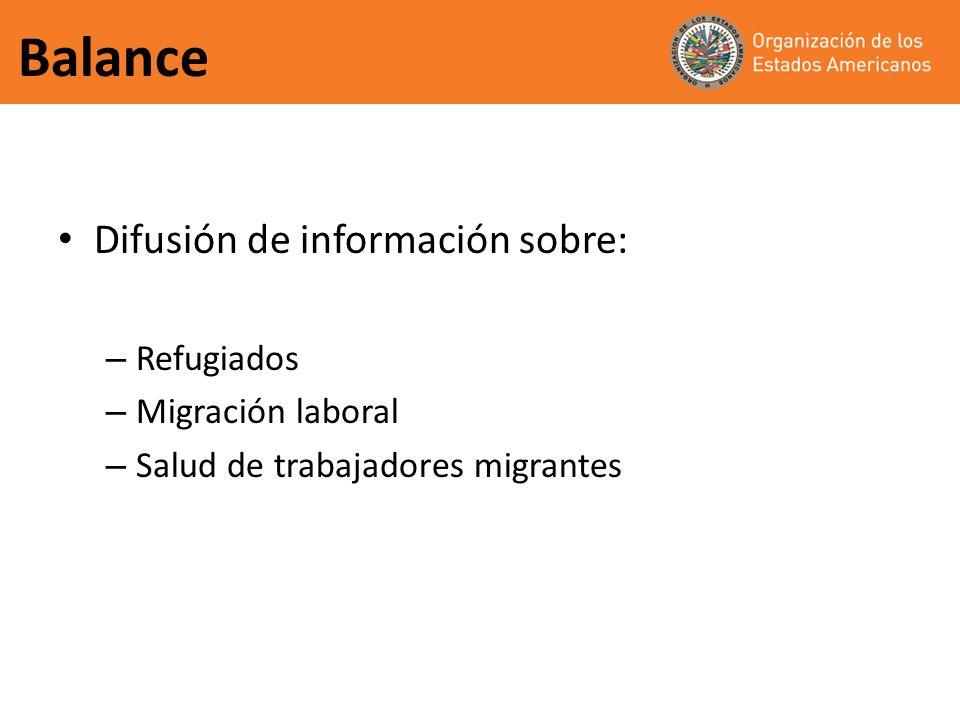 Balance Difusión de información sobre: – Refugiados – Migración laboral – Salud de trabajadores migrantes