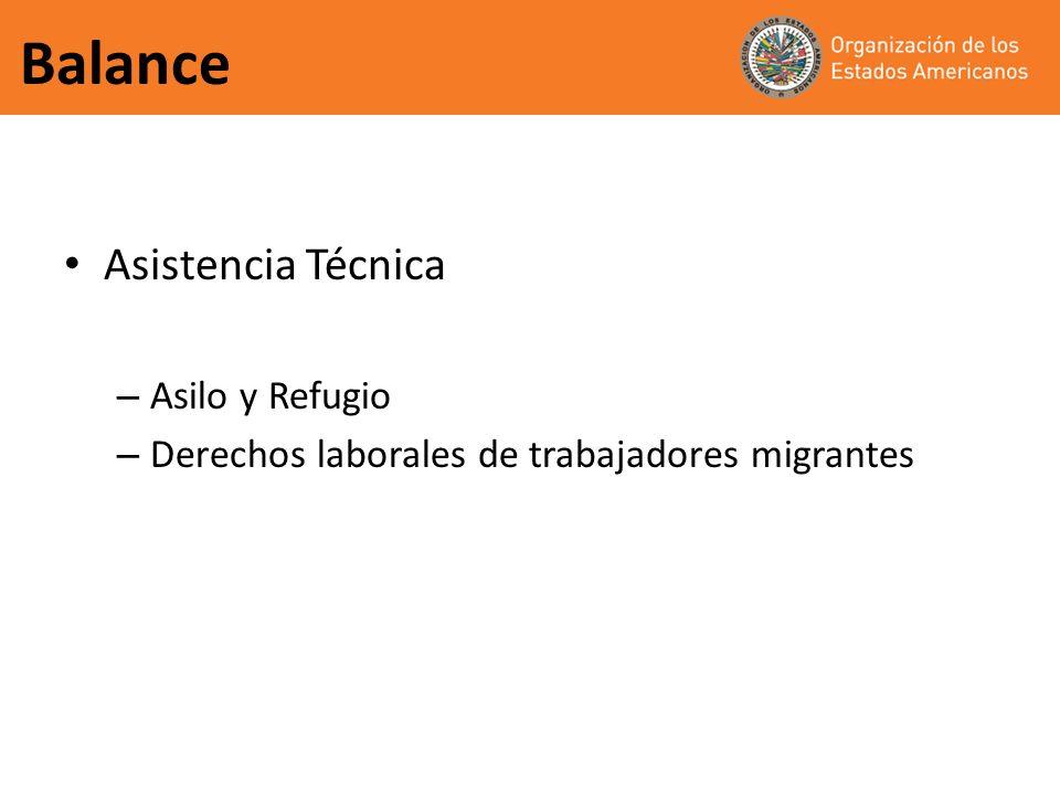 Balance Asistencia Técnica – Asilo y Refugio – Derechos laborales de trabajadores migrantes