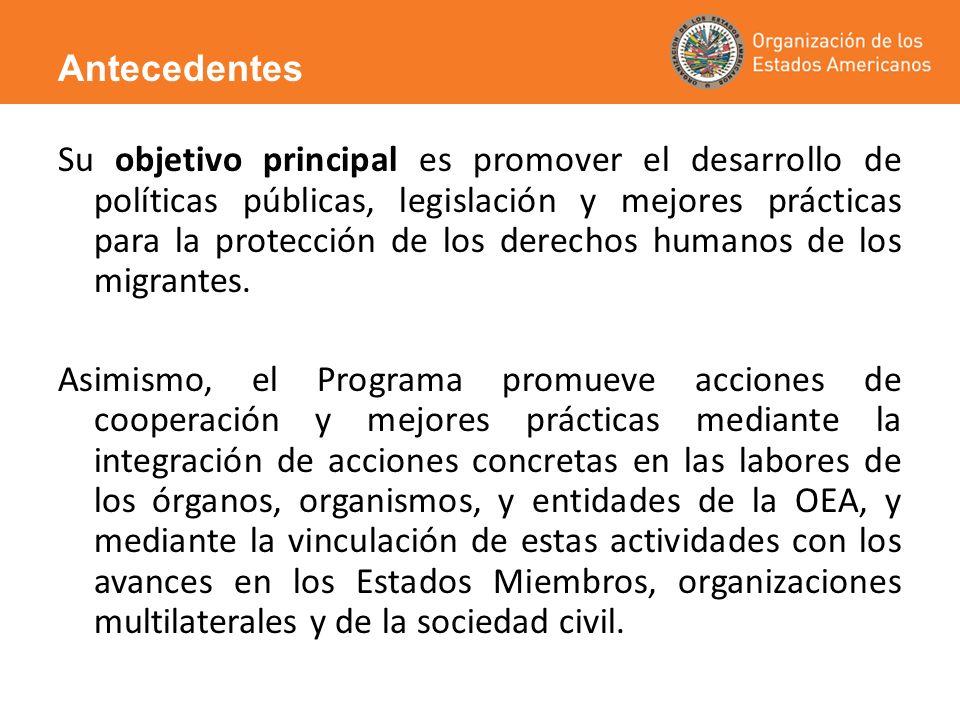 Su objetivo principal es promover el desarrollo de políticas públicas, legislación y mejores prácticas para la protección de los derechos humanos de l