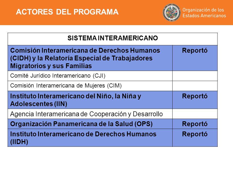 SISTEMA INTERAMERICANO Comisión Interamericana de Derechos Humanos (CIDH) y la Relatoría Especial de Trabajadores Migratorios y sus Familias Reportó C