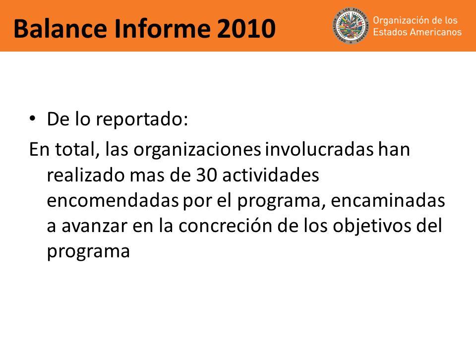 Balance Informe 2010 De lo reportado: En total, las organizaciones involucradas han realizado mas de 30 actividades encomendadas por el programa, enca