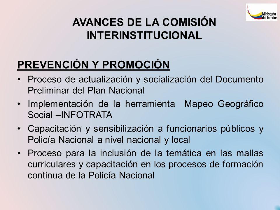 AVANCES DE LA COMISIÓN INTERINSTITUCIONAL PREVENCIÓN Y PROMOCIÓN Proceso de actualización y socialización del Documento Preliminar del Plan Nacional I