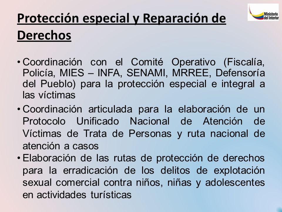 Protección especial y Reparación de Derechos Coordinación con el Comité Operativo (Fiscalía, Policía, MIES – INFA, SENAMI, MRREE, Defensoría del Puebl