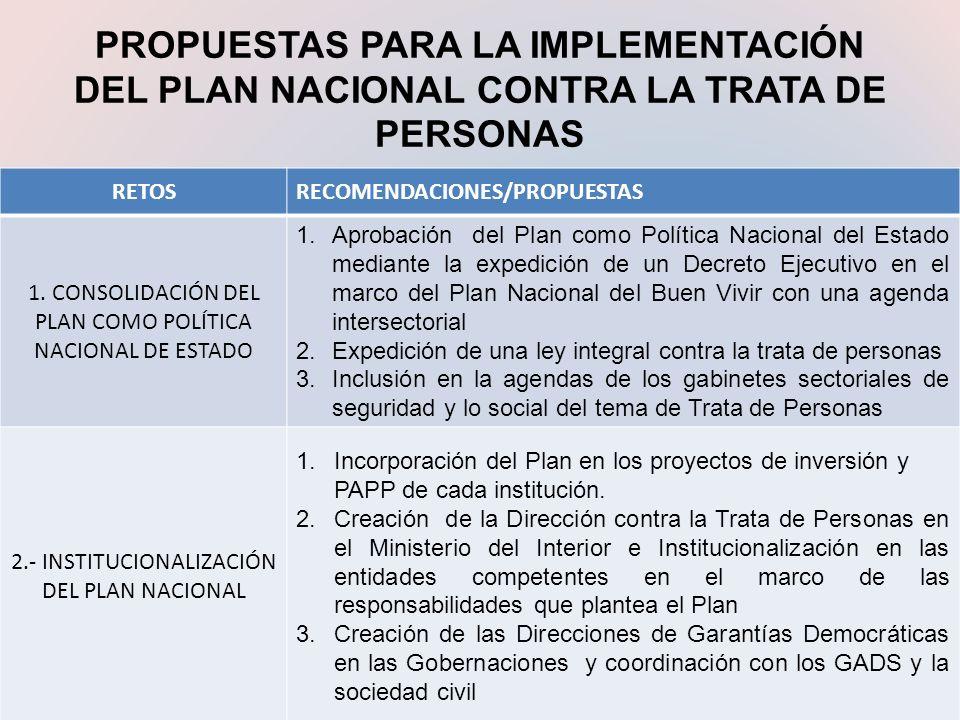 PROPUESTAS PARA LA IMPLEMENTACIÓN DEL PLAN NACIONAL CONTRA LA TRATA DE PERSONAS RETOSRECOMENDACIONES/PROPUESTAS 1. CONSOLIDACIÓN DEL PLAN COMO POLÍTIC