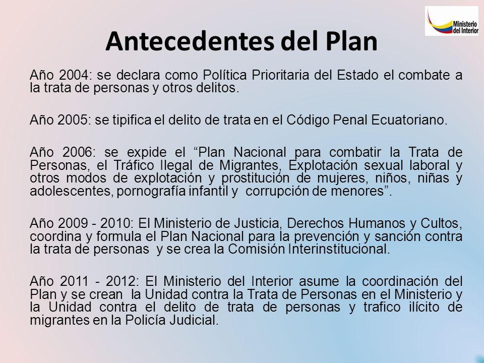 Antecedentes del Plan Año 2004: se declara como Política Prioritaria del Estado el combate a la trata de personas y otros delitos. Año 2005: se tipifi