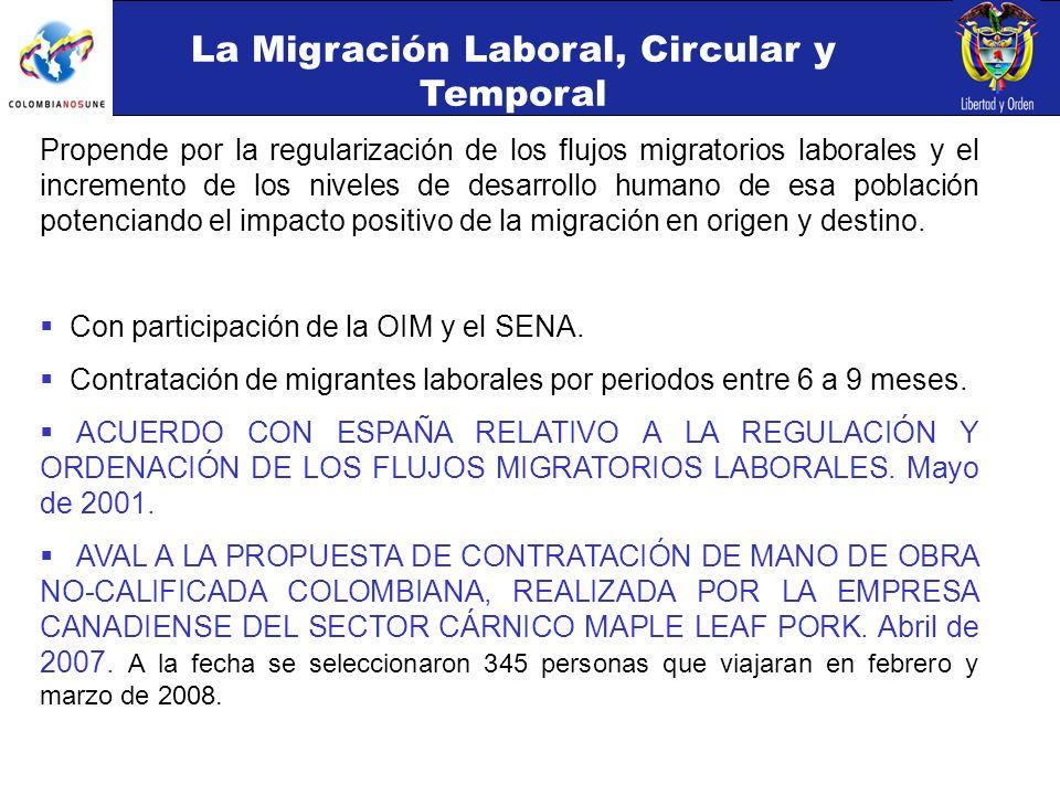 Propende por la regularización de los flujos migratorios laborales y el incremento de los niveles de desarrollo humano de esa población potenciando el impacto positivo de la migración en origen y destino.