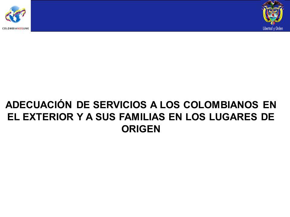 ADECUACIÓN DE SERVICIOS A LOS COLOMBIANOS EN EL EXTERIOR Y A SUS FAMILIAS EN LOS LUGARES DE ORIGEN