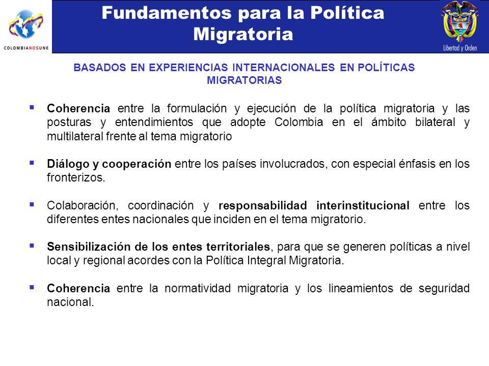 Fundamentos para la Política Migratoria BASADOS EN EXPERIENCIAS INTERNACIONALES EN POLÍTICAS MIGRATORIAS Coherencia entre la formulación y ejecución de la política migratoria y las posturas y entendimientos que adopte Colombia en el ámbito bilateral y multilateral frente al tema migratorio Diálogo y cooperación entre los países involucrados, con especial énfasis en los fronterizos.