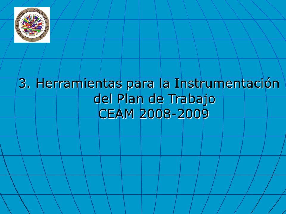 3. Herramientas para la Instrumentación del Plan de Trabajo CEAM 2008-2009 CEAM 2008-2009