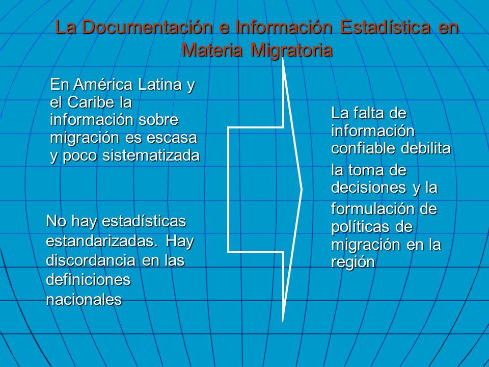 En América Latina y el Caribe la información sobre migración es escasa y poco sistematizada No hay estadísticas estandarizadas. Hay discordancia en la