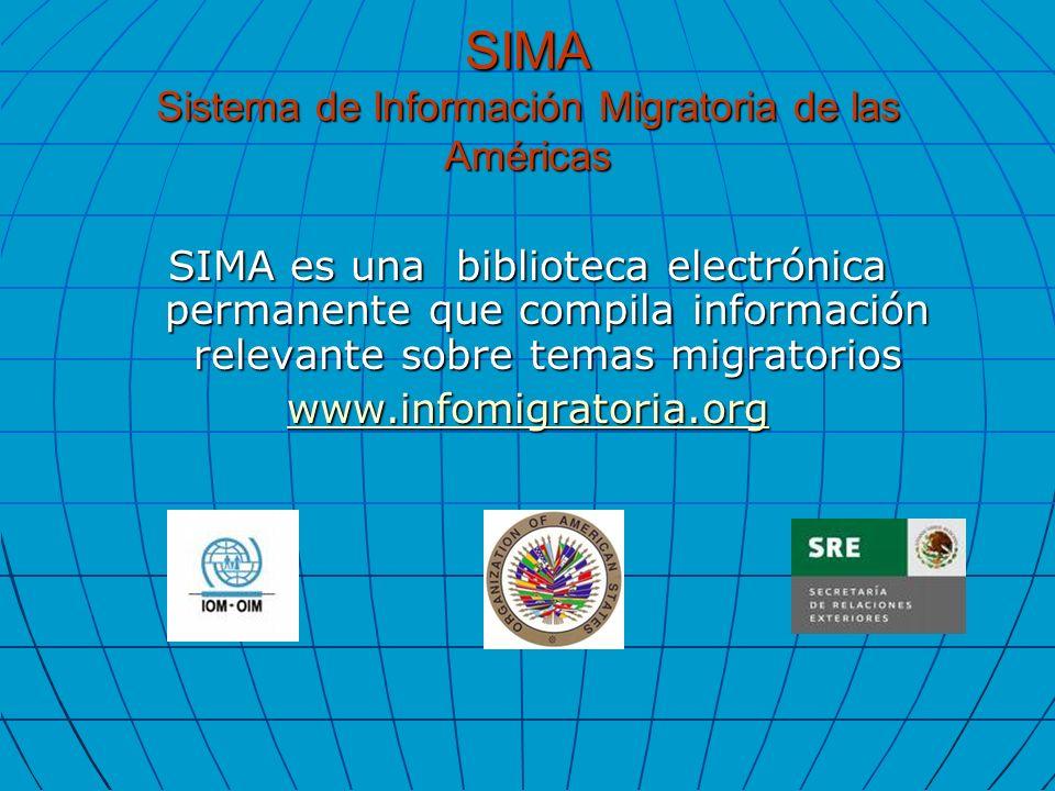 SIMA Sistema de Información Migratoria de las Américas SIMA es una biblioteca electrónica permanente que compila información relevante sobre temas mig