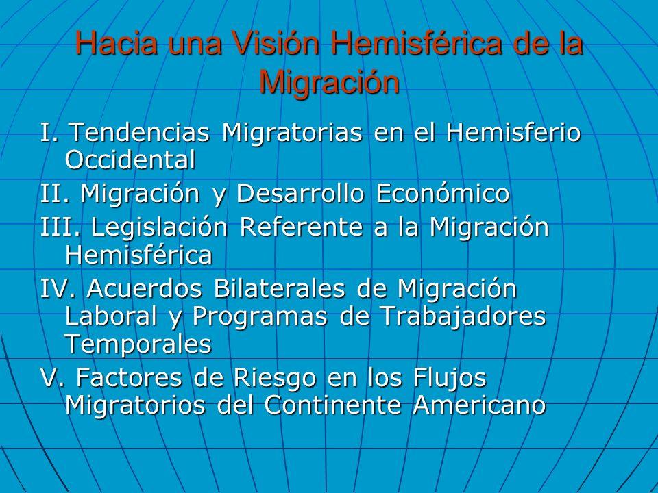 Hacia una Visión Hemisférica de la Migración I. Tendencias Migratorias en el Hemisferio Occidental II. Migración y Desarrollo Económico III. Legislaci