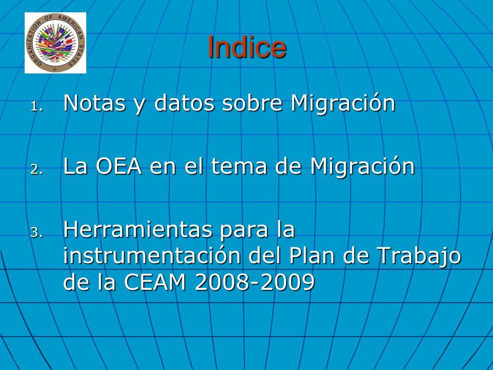 Indice 1. Notas y datos sobre Migración 2. La OEA en el tema de Migración 3. Herramientas para la instrumentación del Plan de Trabajo de la CEAM 2008-