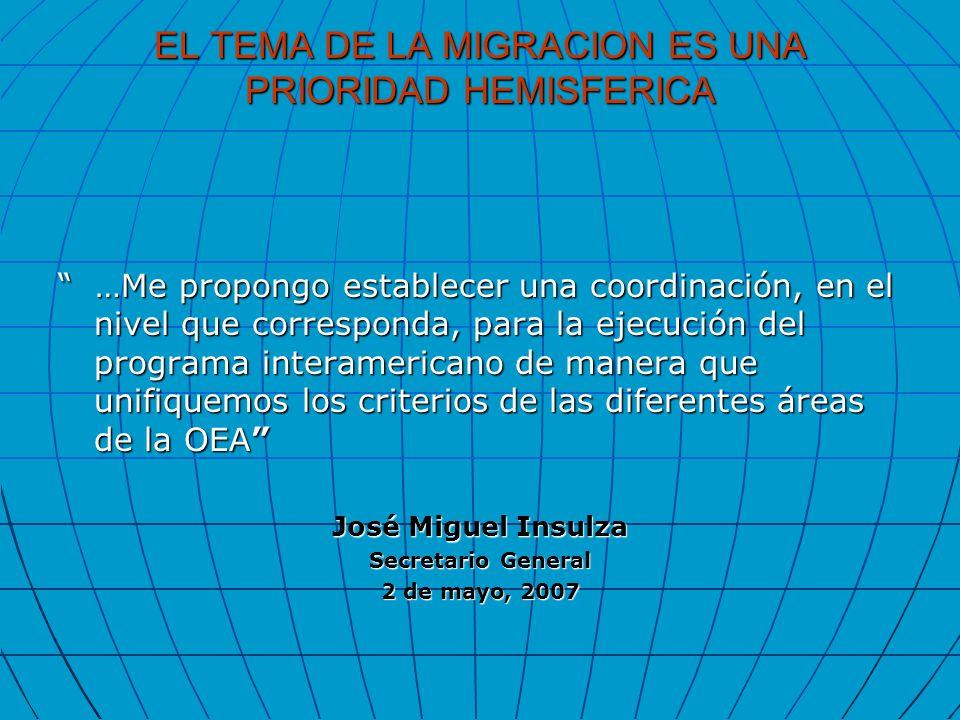 EL TEMA DE LA MIGRACION ES UNA PRIORIDAD HEMISFERICA …Me propongo establecer una coordinación, en el nivel que corresponda, para la ejecución del prog