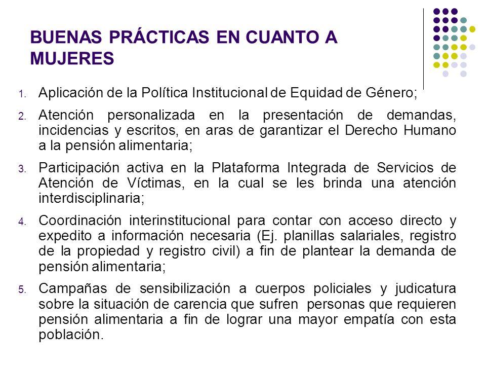 BUENAS PRÁCTICAS EN CUANTO A MUJERES 1. Aplicación de la Política Institucional de Equidad de Género; 2. Atención personalizada en la presentación de