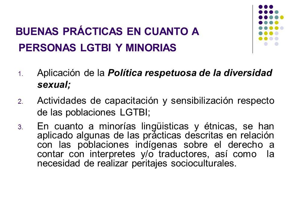 BUENAS PRÁCTICAS EN CUANTO A PERSONAS LGTBI Y MINORIAS 1. Aplicación de la Política respetuosa de la diversidad sexual; 2. Actividades de capacitación