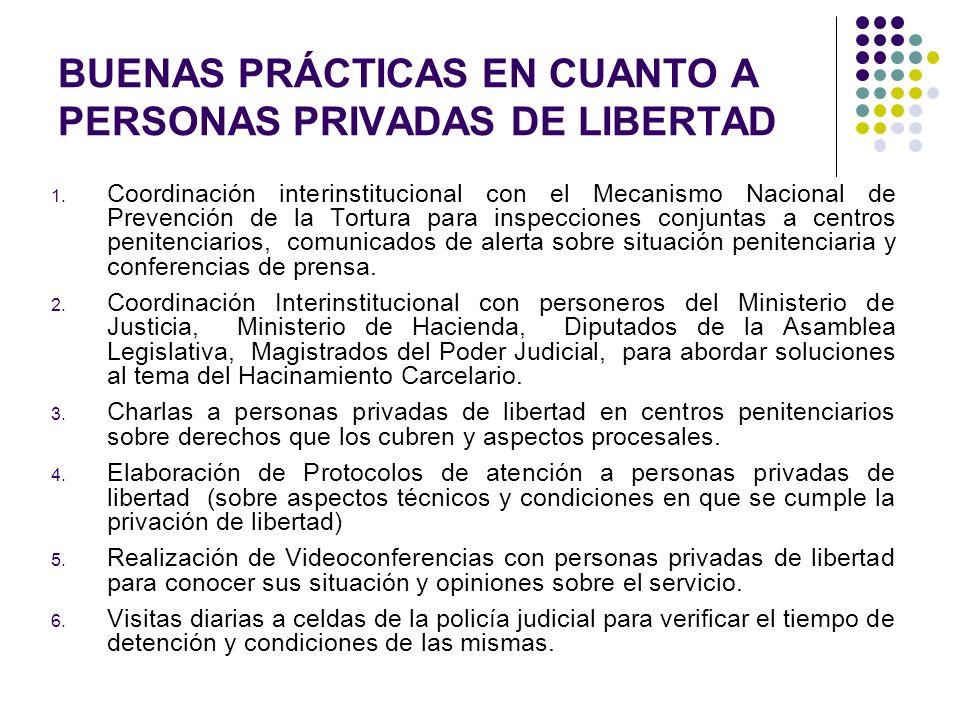 BUENAS PRÁCTICAS EN CUANTO A PERSONAS PRIVADAS DE LIBERTAD 1. Coordinación interinstitucional con el Mecanismo Nacional de Prevención de la Tortura pa