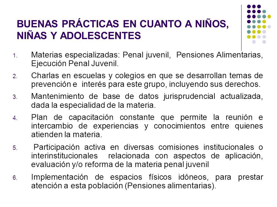 BUENAS PRÁCTICAS EN CUANTO A NIÑOS, NIÑAS Y ADOLESCENTES 1. Materias especializadas: Penal juvenil, Pensiones Alimentarias, Ejecución Penal Juvenil. 2