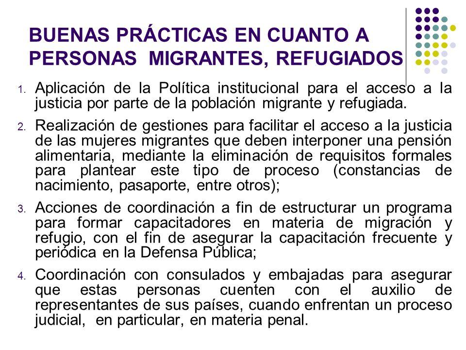 BUENAS PRÁCTICAS EN CUANTO A PERSONAS MIGRANTES, REFUGIADOS 1. Aplicación de la Política institucional para el acceso a la justicia por parte de la po