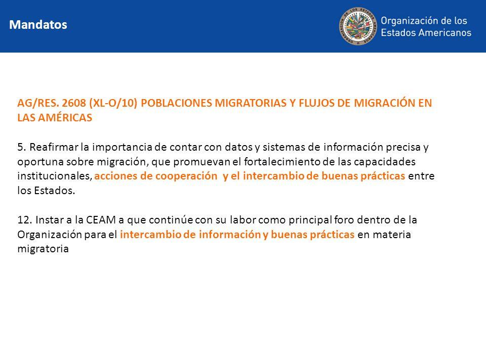 Mandatos AG/RES. 2608 (XL-O/10) POBLACIONES MIGRATORIAS Y FLUJOS DE MIGRACIÓN EN LAS AMÉRICAS 5. Reafirmar la importancia de contar con datos y sistem