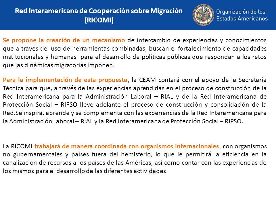 Red Interamericana de Cooperación sobre Migración (RICOMI) Se propone la creación de un mecanismo de intercambio de experiencias y conocimientos que a través del uso de herramientas combinadas, buscan el fortalecimiento de capacidades institucionales y humanas para el desarrollo de políticas públicas que respondan a los retos que las dinámicas migratorias imponen.