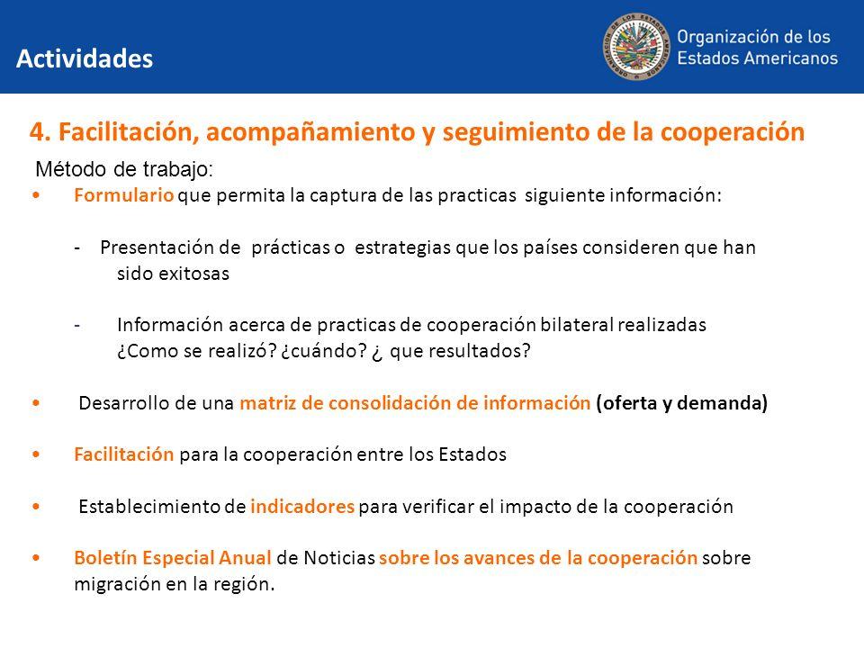 4. Facilitación, acompañamiento y seguimiento de la cooperación Método de trabajo: Formulario que permita la captura de las practicas siguiente inform