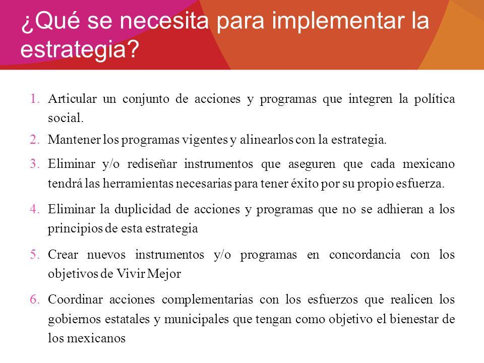 ¿Qué se necesita para implementar la estrategia? 1.Articular un conjunto de acciones y programas que integren la política social. 2.Mantener los progr